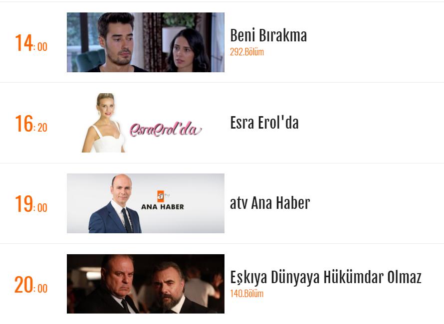 24 Eylul Sali Atv Fox Tv Star Tv Yayin Akisi