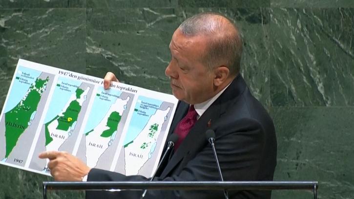 """Başkan Erdoğan'ın BM'deki unutulmaz konuşması: """"İsrail'in sınırları neresidir?"""""""