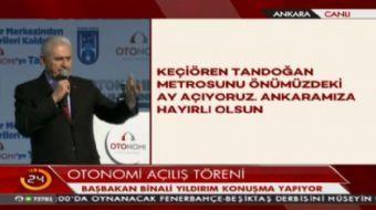 Başbakan Yıldırım: Keçiören - Tandoğan metrosunu önümüzdeki ay açıyoruz