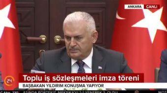 Başbakan Binali Yıldırım 192 bin kamu işçisinin toplu sözleşmelerinin imzalanacağı törende konuştu.