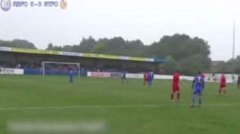 Radcliff Borough ile Spennymoor Town aras�ndaki kar��la�mada Spennymoor Town kalecisi ma��n tek gol�