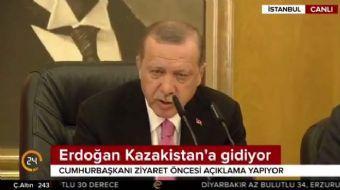Cumhurbaşkanı Recep Tayyip Erdoğan, Kazakistan ziyareti öncesi açıklamalarda bulundu. Cumhurbaşkanı