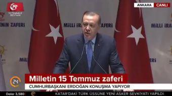 Cumhurbaşkanı Recep Tayyip Erdoğan, '15 Temmuz Milli İrade Zaferinin Analizi' kitabının tanıtımında