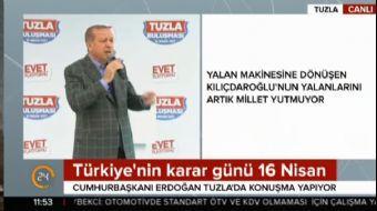 İstanbul Tuzla'da halka hitap eden Cumhurbaşkanı Recep Tayyip Erdoğan referanduma ilişkin çarpıcı aç