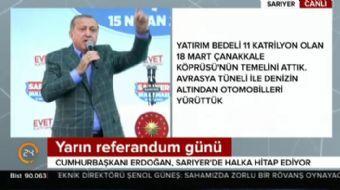 İstanbul Sarıyer'de halka seslenen Cumhurbaşkanı Recep Tayyip Erdoğan çarpıcı açıklamalarda bulundu