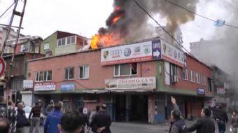Bostanc� Oto Sanayi'de sabah saatlerinde bir i�yerinde ��kan yang�na korku dolu anlara neden oldu. A