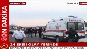 Diyarbakır'ın Sur ilçesinde Dicle Üniversitesi yerleşkesi yakınlarında polis ekibine saldırı düzenle