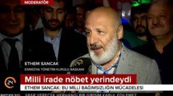 Sarıyer'de demokrasi nöbeti tutan ESMEDYA Yönetim Kurulu Başkanı Ethem Sancak'tan '365 gün nöbetteyi