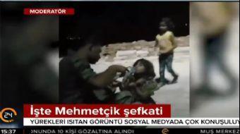 Suriyeli çocuğa Mehmetçik şefkati!