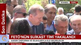 Cumhurbaşkanı Recep Tayyip Erdoğan, askeri üniforma ve silahlarla ele geçirilen FETÖ suikast timiyle
