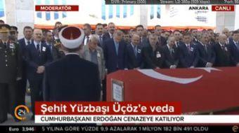Hakkari Çukurca'da şehit düşen Şehit Yüzbaşı Murat Üçöz'ünvcenaze töreni  Ahmed Hamdi Akseki Camii'n