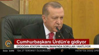 Cumhurbaşkanı Recep Tayyip Erdoğan, Ürdün'e hareketi öncesi Atatürk Havalimanı'nda düzenlenen basın