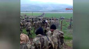 Zeytin Dalı Haraketı kapsamında Türk askeri ve ÖSO mensuplarının, Kilis´in Gülbaba Köyünden Afrin´e