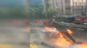 Bağcılar Dağyolu Caddesi üzerinde yapılan alt yapı çalışmaları sırasında doğalgaz patlaması meydana