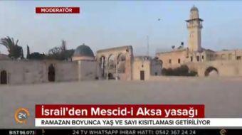 İsrail Ramazan'da Mescid-i Aksa'ya yaş yasağı getirdiğini açıkladı