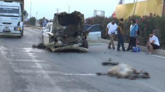 Adana'nın Sarıçam ilçesinde otomobilin keçi sürüsüne çarpması sonucu 30 keçi telef oldu