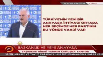 Ba�bakan Y�ld�r�m: Yeni Anayasa �al��malar� ne yaz�k ki muhalefetin uzla�maz tavr� nedeniyle sonu�la
