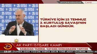 Ba�bakan Binali Y�ld�r�m, AK Parti �sti�are Kamp�'nda konu�ma yap�yor.