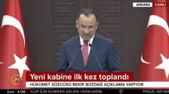 Yeni Hükümet Sözcüsü Bekir Bozdağ oldu. Aynı zamanda başbakan yardımcısı olan Bozdağ, Bakanlar Kurul