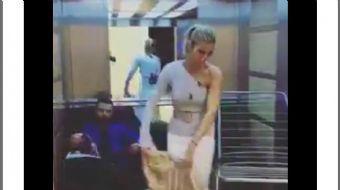 Çağla Şikel ve Alişan'ın asansörün içinde 1+1 evde yaşamı canlandırdıkları video sosyal medyada günü