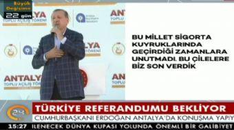 Antalya'da halka seslenen Cumhurbaşkanı Recep Tayyip Erdoğan hastanelerin durumunu değerlendirdi