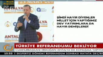 Antalya'da halka seslenen Cumhurbaşkanı Recep Tayyip Erdoğan muhalefete yüklendi ve önemli açıklamal