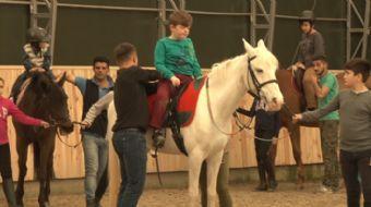 Arnavutköy Belediyesi, engelli çocuklara atla terapi hizmeti verdi. Atlara binerek terapi alan çocuk
