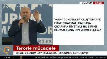 Başbakan Binali Yıldırım Erzurum'da bayramlaşma töreninde konuşma yaptı. Kılıçdaroğlu'nun yargıya te