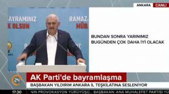 Başbakan Binali Yıldırım, AK Parti bayramlaşmasında Ankara İl Teşkilatına hitap etti. Yıldırım, '201