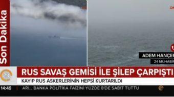 İstanbul Boğazı'nın 18 mil açığında Karadeniz'de Rus savaşa gemisi ile canlı hayvan yüklü kargo gemi