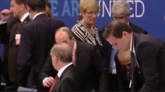 NATO Karargah binasındaki yemeğe katılan ABD Başkanı Donald Trump, Cumhurbaşkanı Recep Tayyip Erdoğa