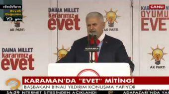 Başbakan Binali Yıldırım, Karaman'da 'EVET' mitinginde halka hitap etti. Yıldırım, 'Karaman'ın 2050