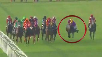 Veliefendi'de dün koşulan at yarışlarında büyük bir felaket ucuz atlatıldı.