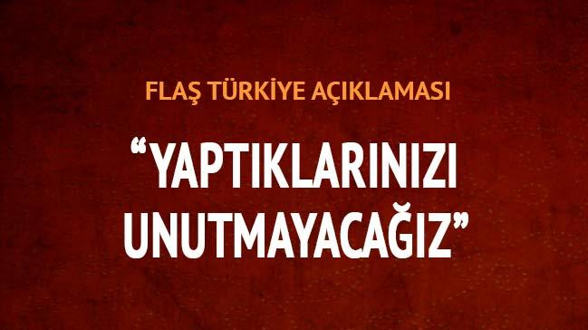 �ran'dan fla� 'T�rkiye' a��klamas�: Yapt�klar�n� unutmay�z