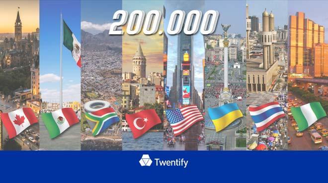7 ülkede 200,000 kullanıcıya ulaştı