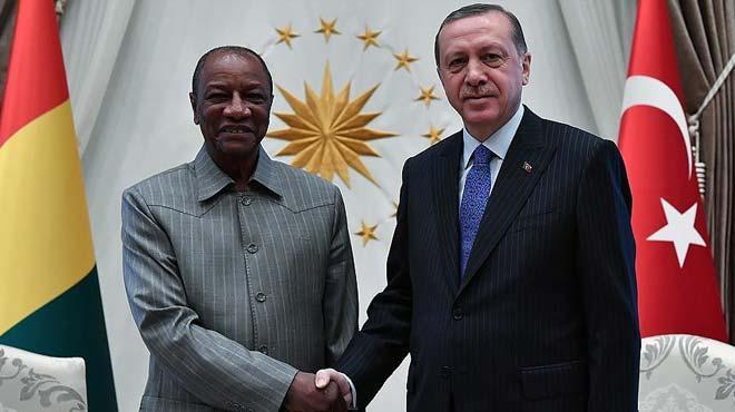 Cumhurba�kan� Erdo�an Gine Cumhurba�kan� Conde ile g�r��t�