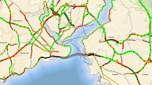 Avrasya Tüneli İBB Trafik haritasına eklendi