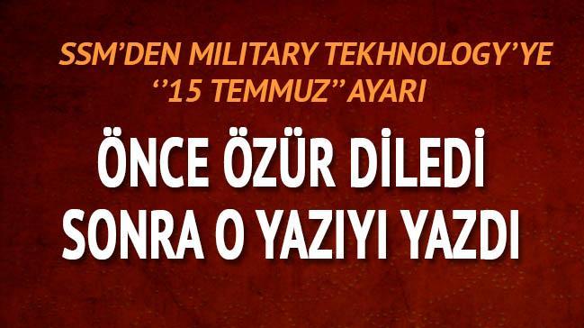 SSM'den Military Technology'ye 15 Temmuz ayarı
