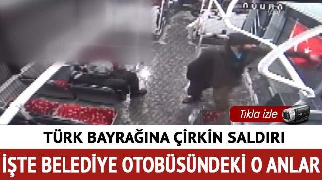 Türk bayrağını aşağılayarak indiren zanlı tutuklandı