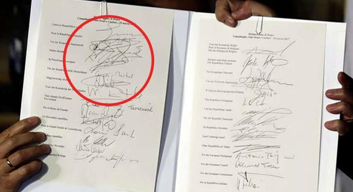 Rum liderin imzası Merkel'i güldürdü
