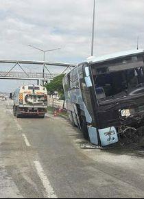AK Partilileri taşıyan otobüs kaza yaptı: 26 kişi yaralandı