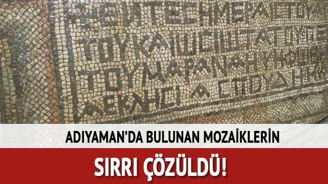 Adıyaman'da bulunan mozaiklerin sırrı çözüldü