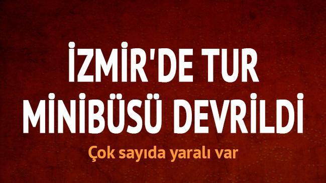 İzmir'de tur minibüsü devrildi: 5 yaralı