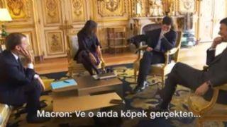 Macron'un köpeği kahkahaya boğuldu