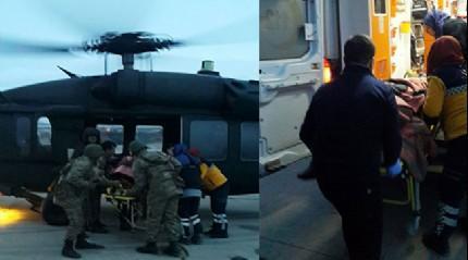 Düşük yapan kadın, askeri helikopterle hastaneye yetiştirildi