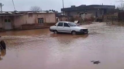 Akçakale'de ev ve iş yerlerini su bastı