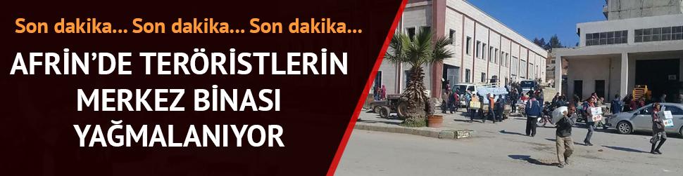 Afrin'de terör örgütü PKK/YPG'nin merkez binası yağmalanıyor!