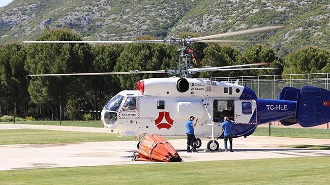 Rus yapýmý yangýn söndürme helikopteri Marmaris'te