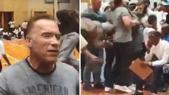 Arnold Schwarzenegger'e tekmeli saldırı