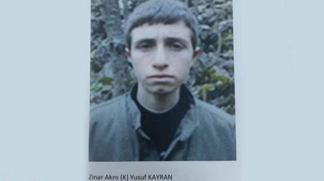 Gri kategorideki terörist Zinar Akro kod adlı Yusuf Kayran etkisiz hale getirildi
